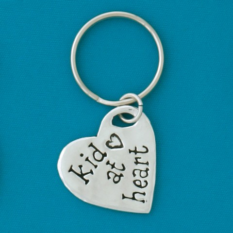 Kid at Heart Quote Keychain
